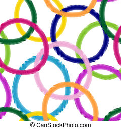 Seamless white pattern with colorful rings