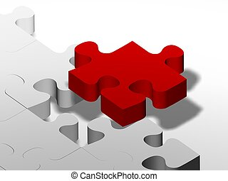 the red puzzle - puzzle pieces, metaphoric image applicable...