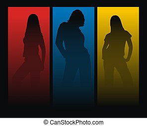 three woman silhouettes on color background
