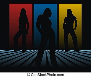 silhouettes in black - three woman siluettes ilustration