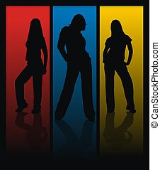 business woman - three woman silhouettes