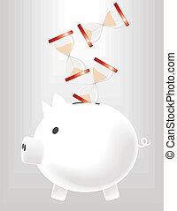 piggybank saving time - metaphoric image of piggybank saving...