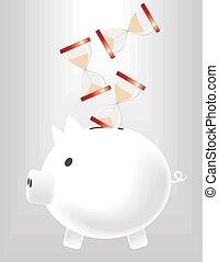 piggybank saving time - metaphoric image of piggybank saving...
