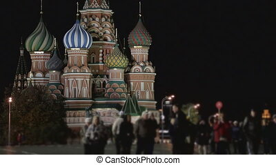 night Kremlin sequence - night Kremlin, embankment, Moscow,...