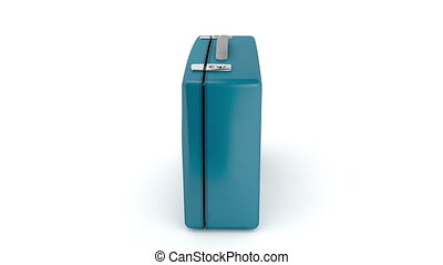 Blue suitcase rotates on white background