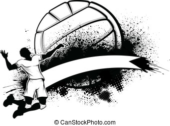 Male Volleyball Grunge Banner - Vector illustration of a man...