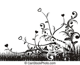 corazones enramados - artistic background with folliage and...