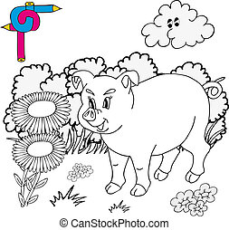 Coloring image pig - vector illustration