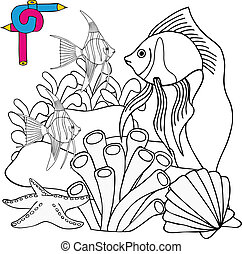 Coloring image sealife - vector illustration.