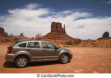 car, monumento, vale, Navajo, tribal, parque, Arizona, EUA