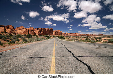 Road in the desert, Arches National Park in Utah, USA