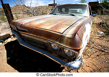 old usa car in the desert
