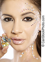 picture of lovely woman with diamond heart - beautiful...