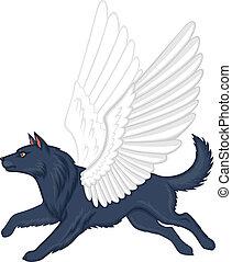 Mythical winged dog Simuran - Cartoon mythical winged dog...