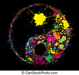 Grunge Yin Yan symbol made of colourful paint splashes on...