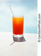 Poolside cocktail - Cocktail near the swimming pool, shallow...