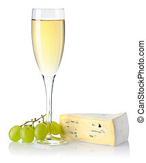 Cheese and wine - Cheese and white wine isolated on white...