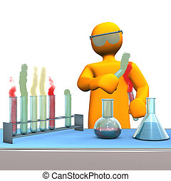 Chemist - Orange cartoon character as chemist with test...