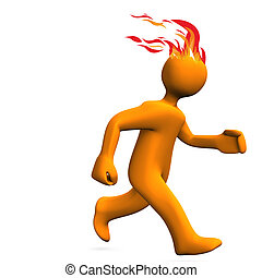 Runner Fire Hairs - Orange cartoon character runs on the...