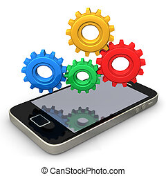 Smartphone Gears - Smartphone with multicolored gears on the...
