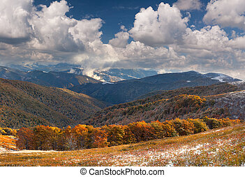 Colorful autumn landscape in the mountains. First November...