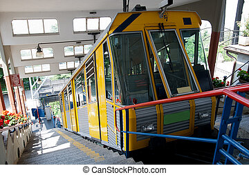 funicular from Italian city Como to village Brunate in upper...