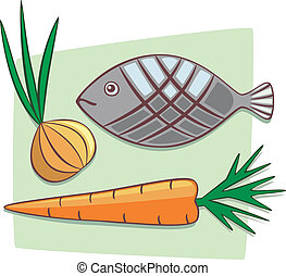 Ingredients - Carrot, onion and fish. Healthy and fresh...