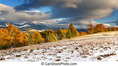 Colorful autumn landscape in the mountains First November...