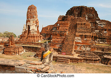 Ruins the temple of Wat Mahatat and Buddha in Ayutthaya near...