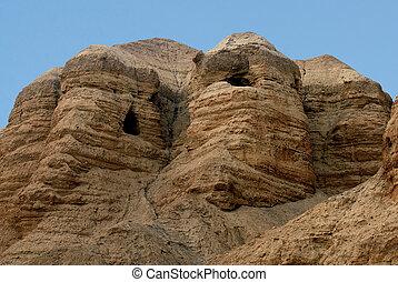 Qumran caves Israel - Qumran caves in Qumran National Park...