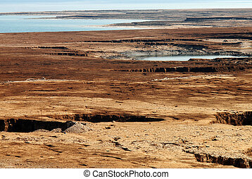 Sinkhole in the Dead Sea valley Israel - Landscape view of...