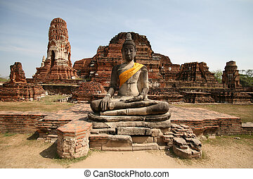 Monuments of buddah, ruins in Ayutthaya old capital Thailand