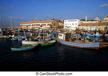 Ancient Yaffo Port Israel - Fishing boats mooring at ancient...