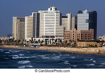Tel Aviv Skyline Israel - Tel-Aviv seashore as seen from...