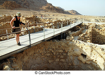 Qumran National Park Israel - A visitor at Qumran National...