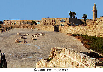 Ancient Caesarea port Israel - Caesarea Harbor , ancient...