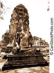 Monuments of buddah, ruins of Ayutthaya, old capital of...