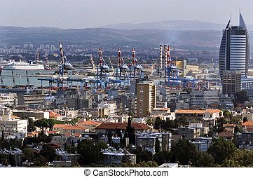 Haifa Cityscape Israel - General view of Haifa city and port...