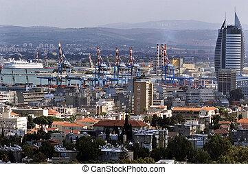 Haifa Cityscape Israel - General view of Haifa city and port...