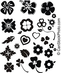 flowers set - set of flower silhouettes