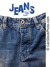 front of blue jeans.