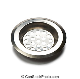 sink drain - Stainless steel kitchen sink drain on white...