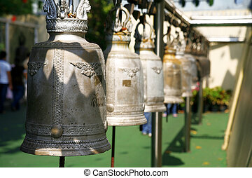 Buddhist bells inside the temple