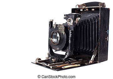 Retro camera isolated on white - medium format retro camera...