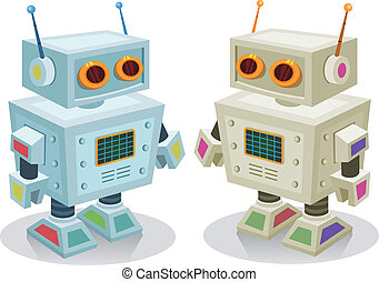 Robot Toy For Children - Illustration of a couple of cute...