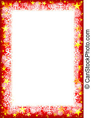 Christmas Frame with Stars and Snowflakes - Vector