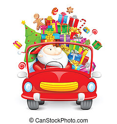 Santa Claus driving car with Christmas gifts - illustration...