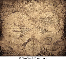 ouderwetse, kaart, Wereld, circa, 1675-1710
