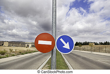 Traffic signal - Traffic sign on lamppost, with road and sky...