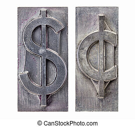 dollar and cent symbols - dollar and cent -isolated symbols...